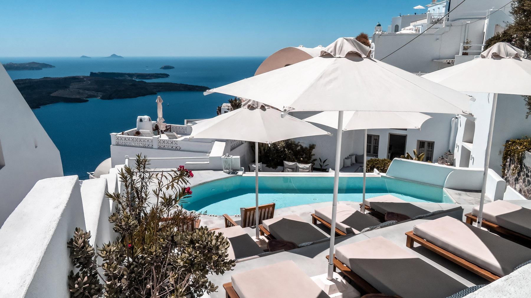 Santorini Imerovigli Hotel Aussicht