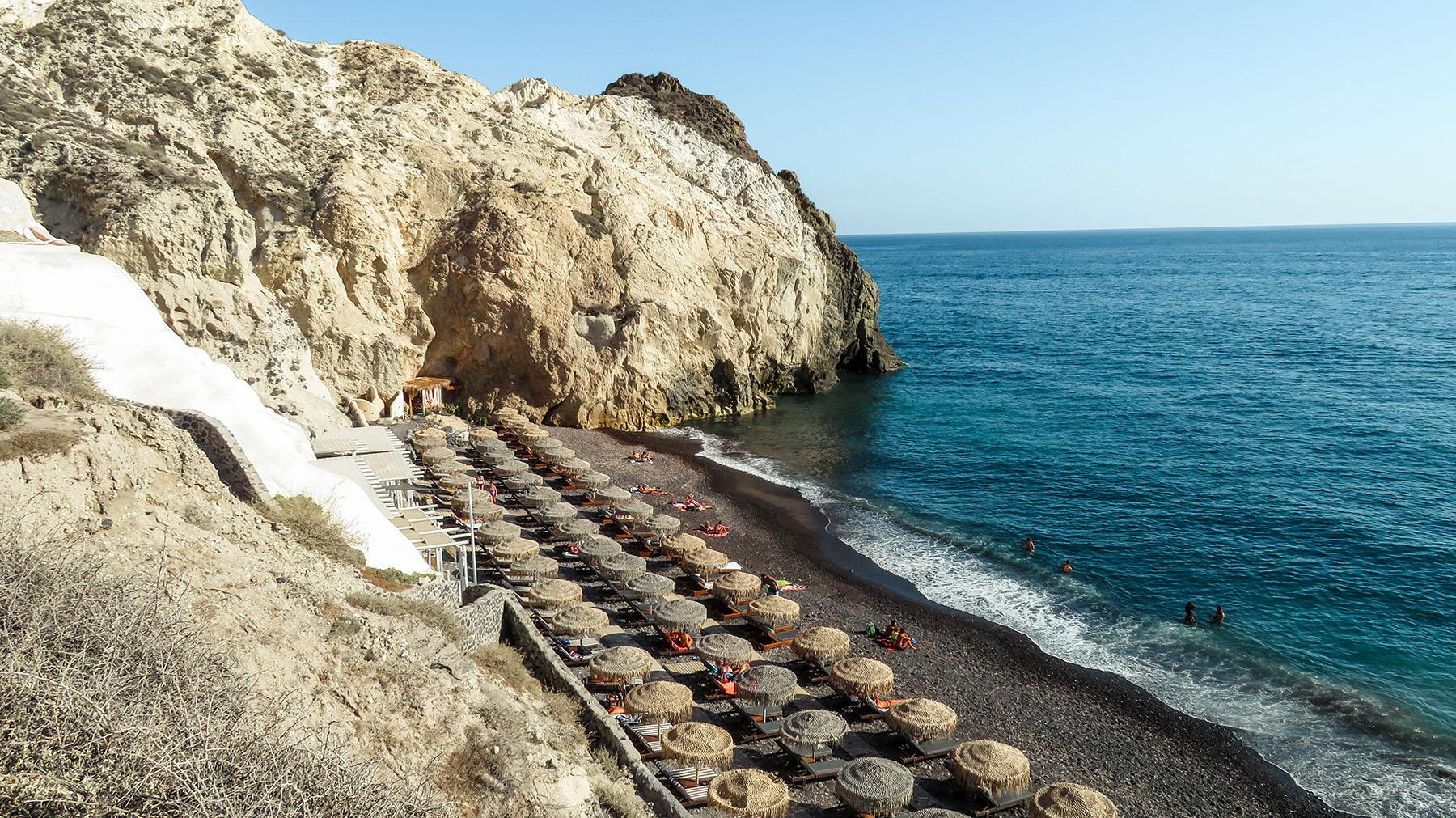 Black Beach Santorini Griechenland