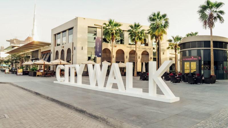 Orient Kreuzfahrt Dubai City Walk Sign