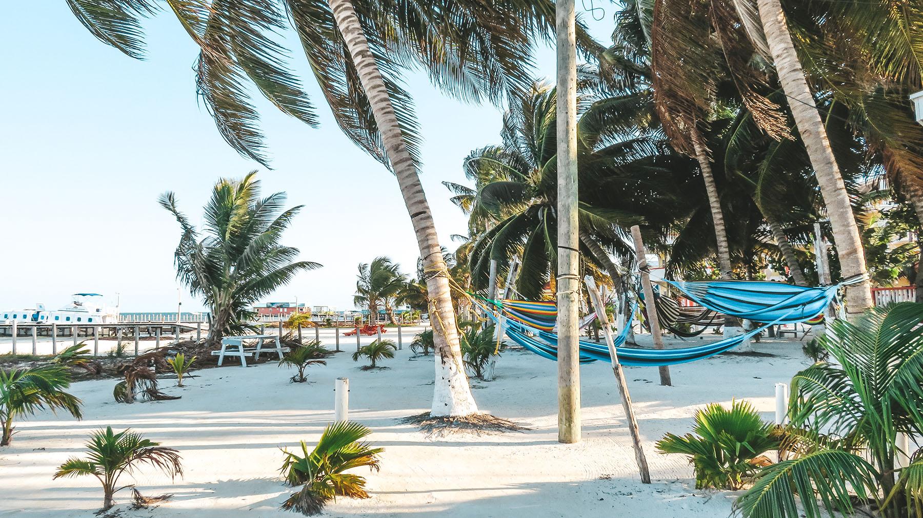 Belize Caye Caulker Strand Hängematten